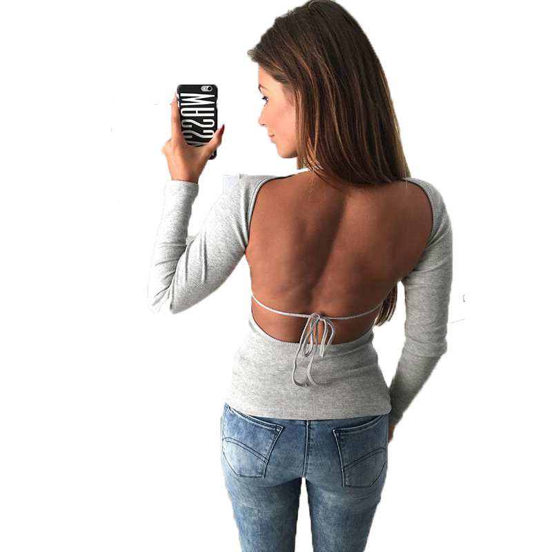Sexy Backless Long Sleeve Bandage Slim Women T-shirt 2018 Spring Summer Casual Tops Fashion O Neck Solid Tee Shirt