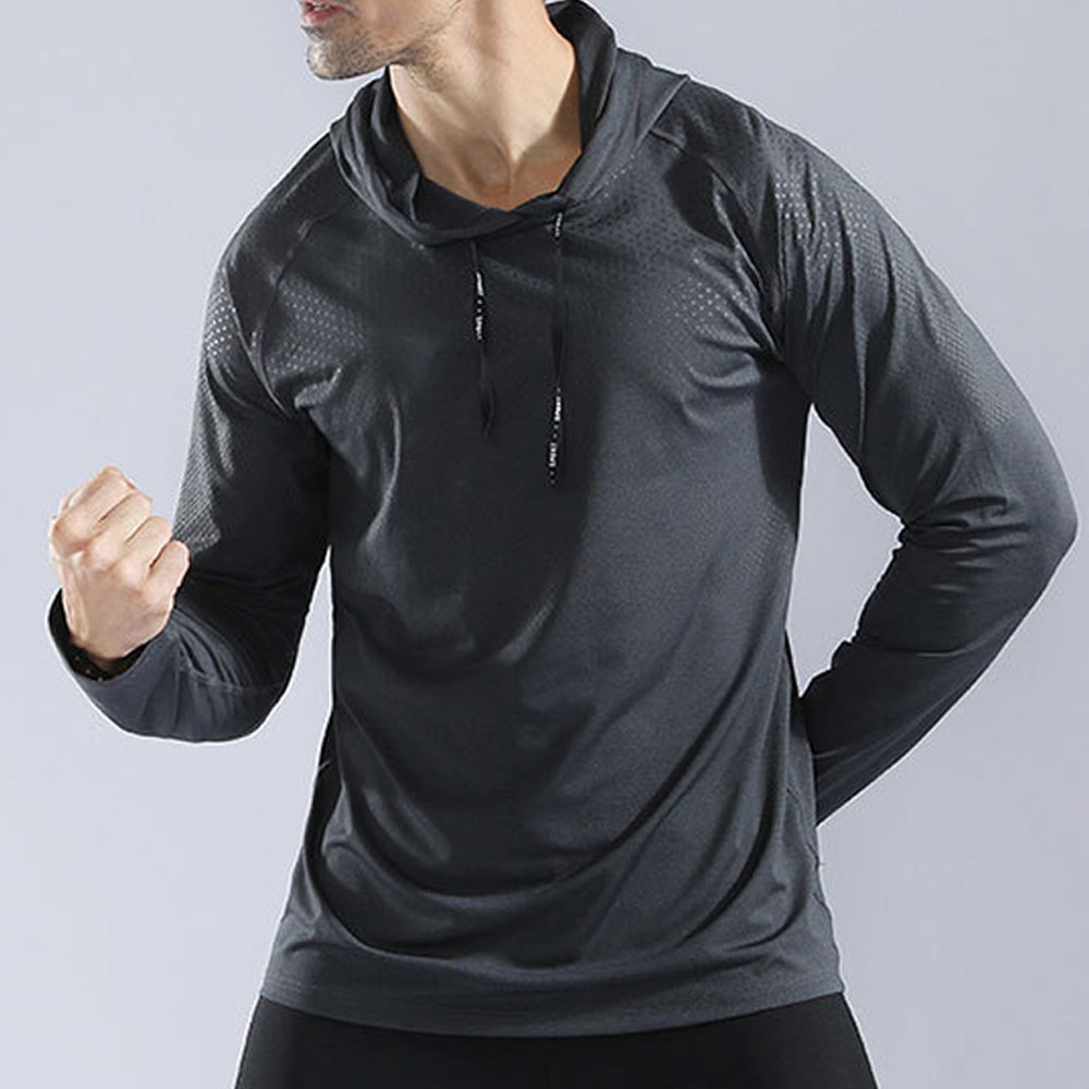 Mens Workout Running Jogging Hoodies Gym Long Sleeve Tops with Anorak Sportswear