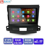 EKIY 9'' IPS 2.5D No 2 Din Android Car Radio Multimedia Player For Mitsubishi Outlander 2006 2012 Navigation Audio Video 4GModem