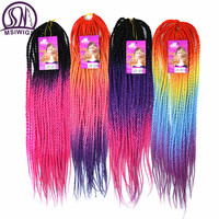 MSIWIG Long Ombre Colorful Synthetic Senegalese Braiding Hair African Soul Twist Bulk Natural 20 Stands 100G