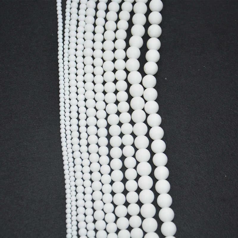 4 มม.6 มม.8 มม.10 มม.หินธรรมชาติสีขาวสีรอบ DIY ลูกปัดแบบหลวมสำหรับสร้อยข้อมือสร้อยคอทำขายส่ง