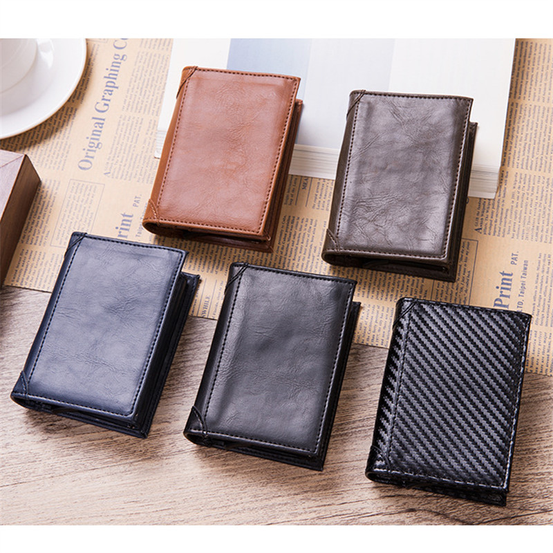 BYCOBECY 2019 New RFID Business Card Wallet Aluminium Box PU Leather Automatic Pop Up Metal Wallet Credit ID Card Holder in Card ID Holders from Luggage Bags