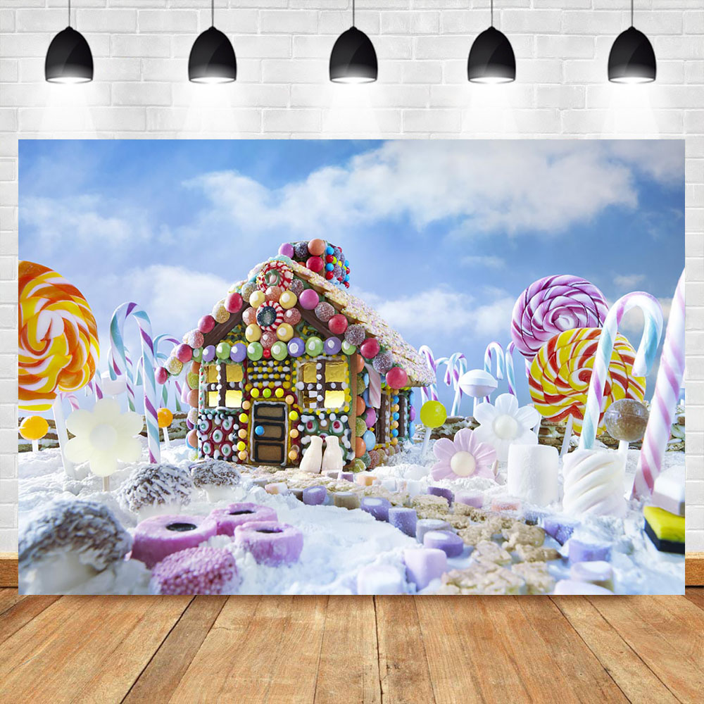 Christmas Gingerbread House Background.Us 9 79 41 Off Neoback Candy World Backdrop Christmas Gingerbread House Happy Birthday Photo Backdrops Kids Birthday Photography Background In