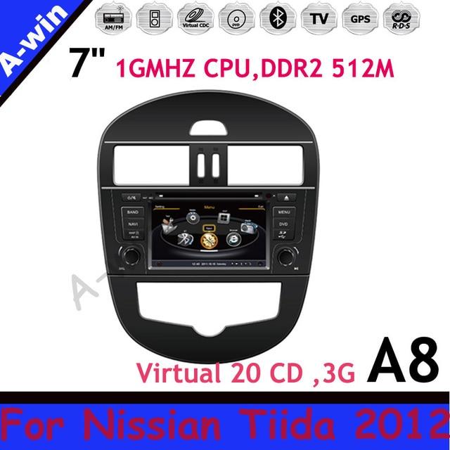 car monitor 7'' Car DVD GPS Steering Wheel Control  with Virtual 20CDC car radio For Nissan Tiida 2012 car dvd gps player