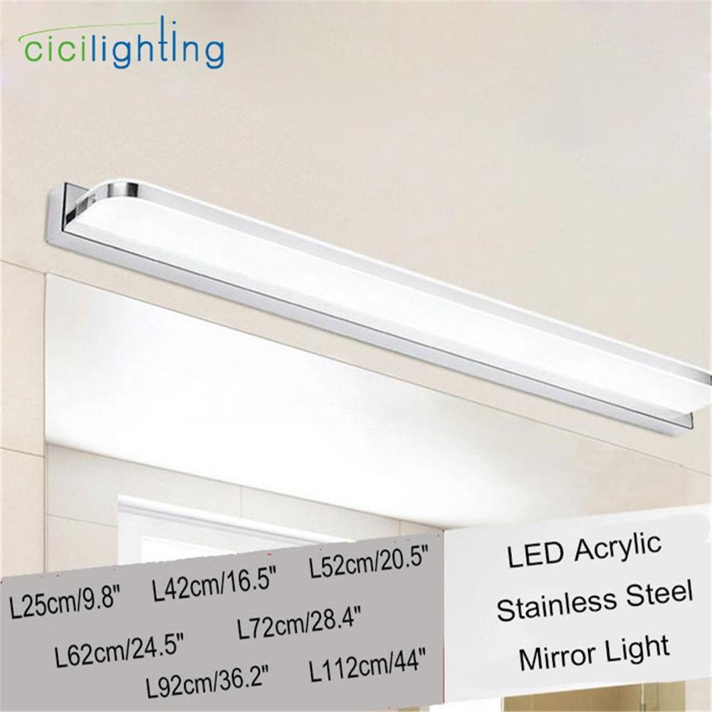 Modern led vanity lights above mirror plug in acrylic LED mirror front lamp bathroom home makeup dressing table wall lighting цены онлайн