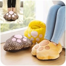 Hot Cute Cartoon Winter Plush Warm Feet Treasure Creative Home USB Heating Warm Hand Soft Detachable Wash Warm Feet Shoes Nov3