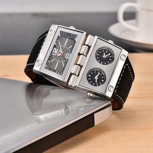 Image 3 - Oulm montre bracelet de Sport pour hommes, trois zones horaires 2 cadrans, grand cadran à Quartz, montre de style militaire, décontracté