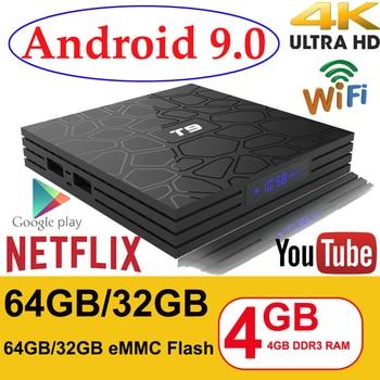 Android 9,0 смарт-ТВ коробка VONTAR T9 4 Гб Оперативная память 32 GB/64 GB Встроенная память с двумя камерами, процессор Rockchip RK3328 H.265 4 K дополнительно 2,4 г/с) Wi-Fi 5 ГГц двойной WI-FI ТВ коробка Декодер каналов кабельного телевидения