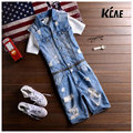 2016 New Brand Mens Denim Jumpsuit Fashion Denim Overalls Men sleeveless Slim Jumpsuits Working Clothes Holes Cool Male Overalls