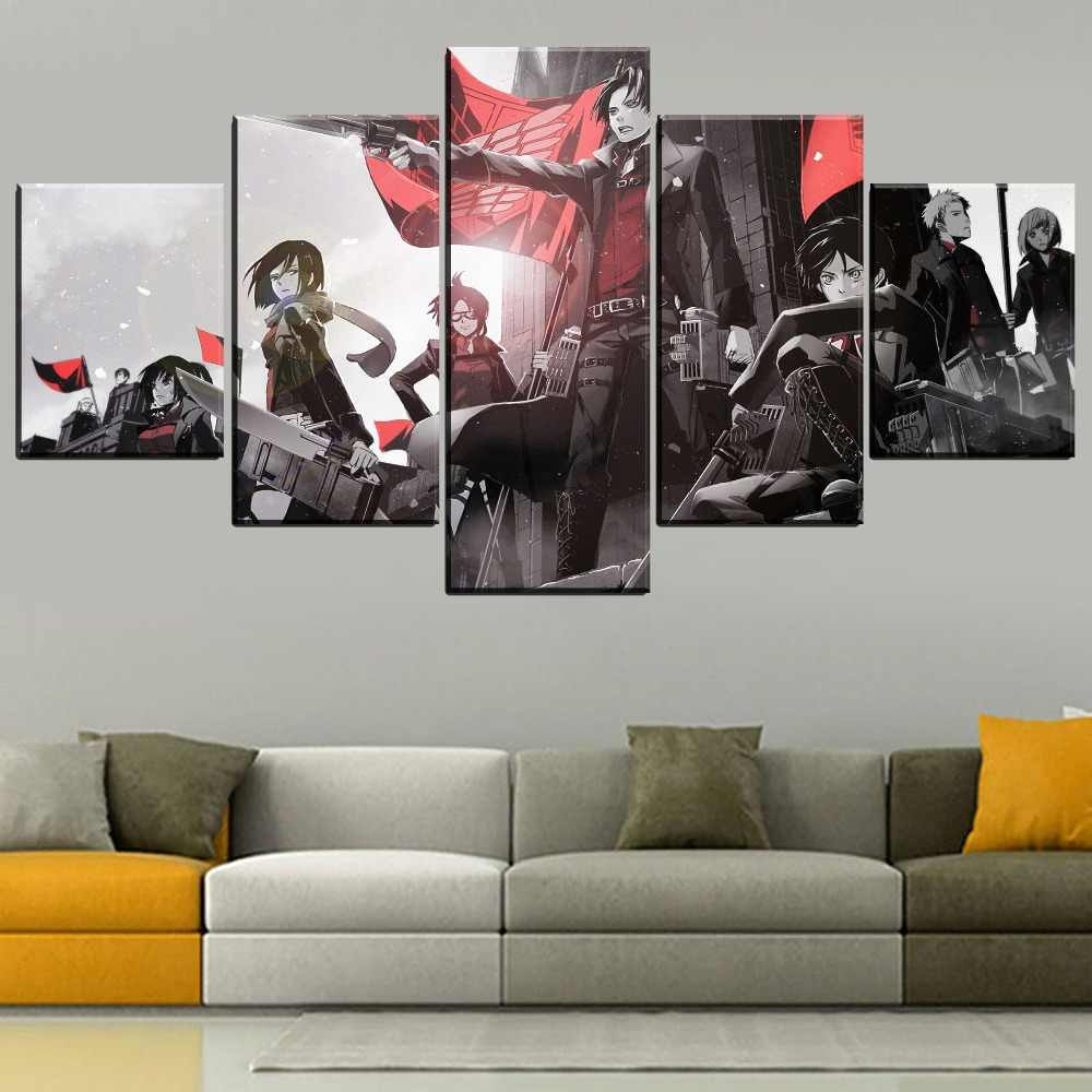 Prints Canvas Wall Art Painting Modular Anime Character Attack On Titan Pictures Home Decoration Poster Living Room Framework