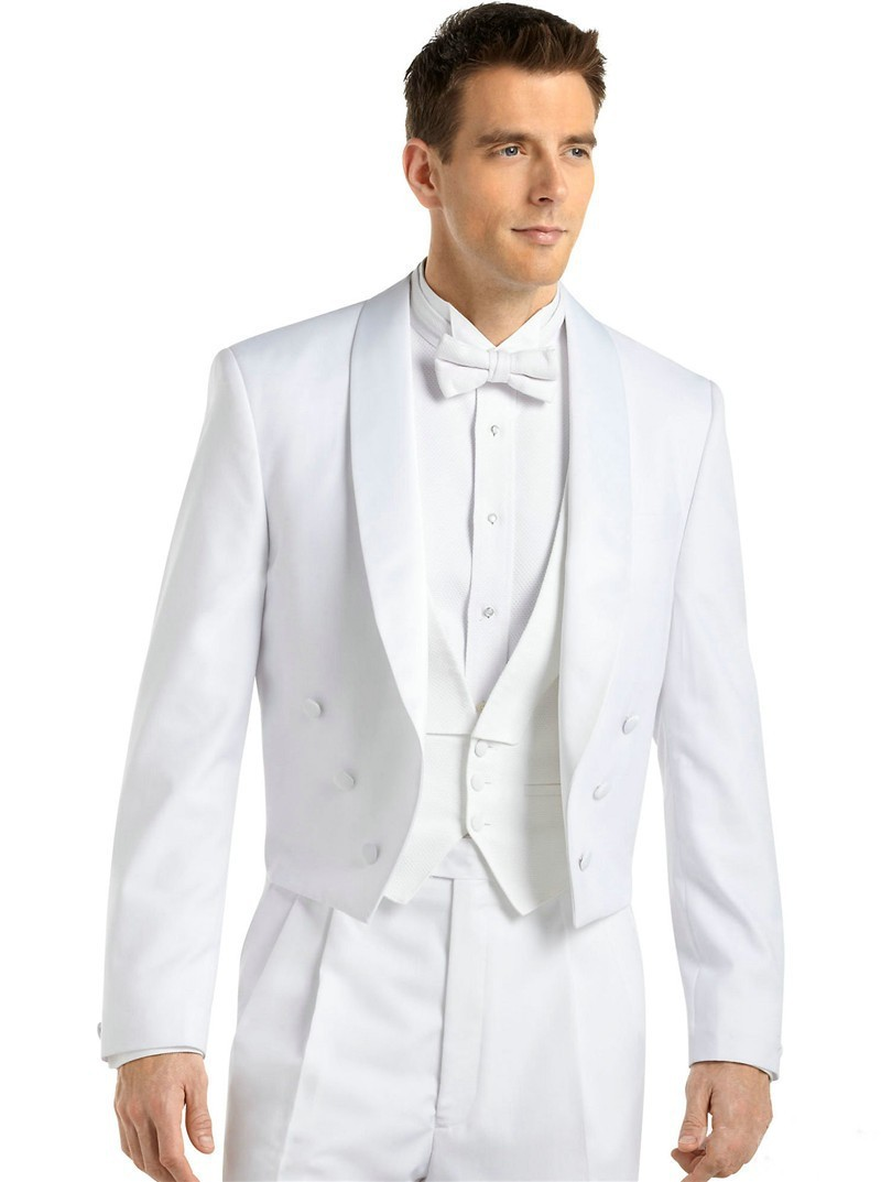 High Quality White Tailcoat Groom Tuxedos Groomsmen Mens Wedding Suits Prom Bridegroom Jacket Pants Vest Tie No 452 In From Men S Clothing