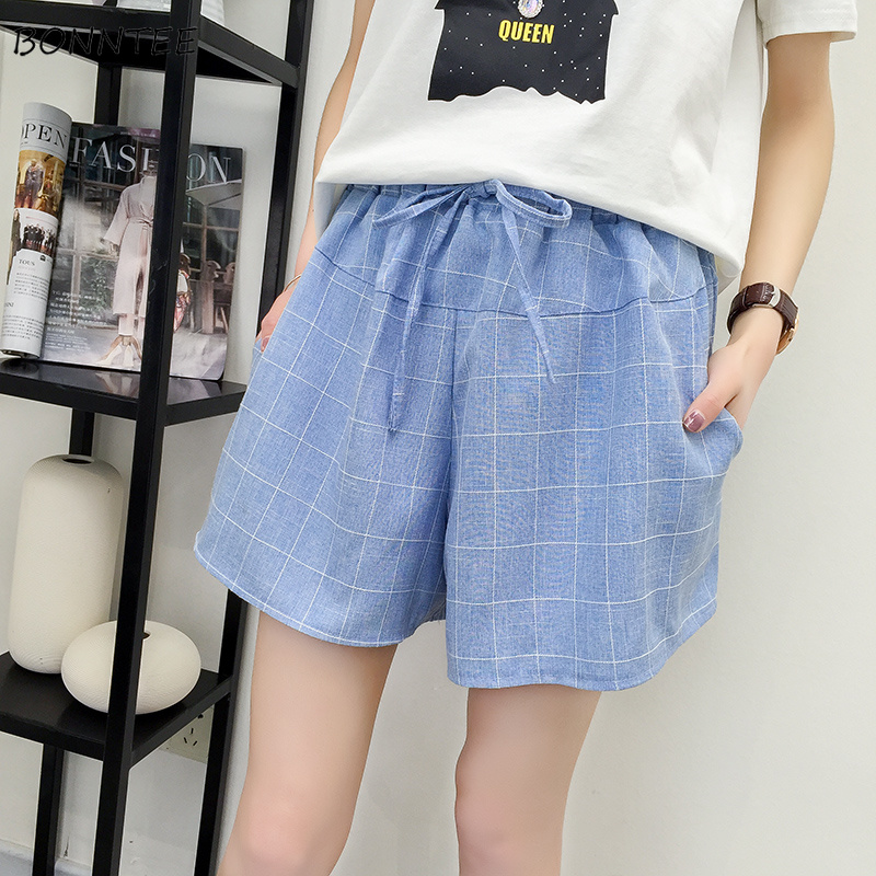 Shorts Women Fashion Summer Thin Korean Plaid Loose Soft Womens Retro Clothing Elastic Bow Drawstring Sweet Flare Casual Daily