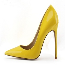 Fashion Yellow Color Popular Woman Pointed Toe Pumps Shallow Thin High Heels 12CM Or 10CM Big Size Stilletos Party Shoes
