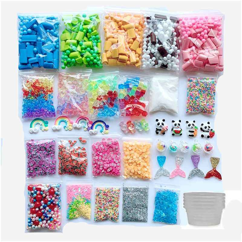 46PCS Slime Making Kit Foam Ball Plastic Beads Sponge Strip Gold Powder Slime Box Fruit Slices DIY Material Kids Gift