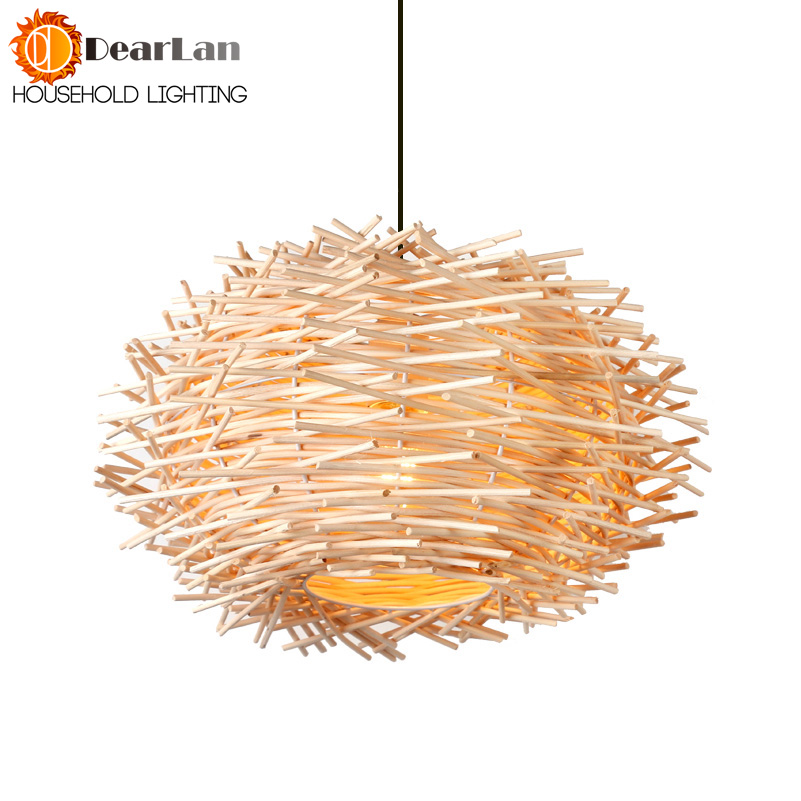 Modern Wooden Art Pendant Light Creative  Vintage Cany art Pendant Lamp Foyer Lamp Dining Room Loft Pendant Light Free Shipping