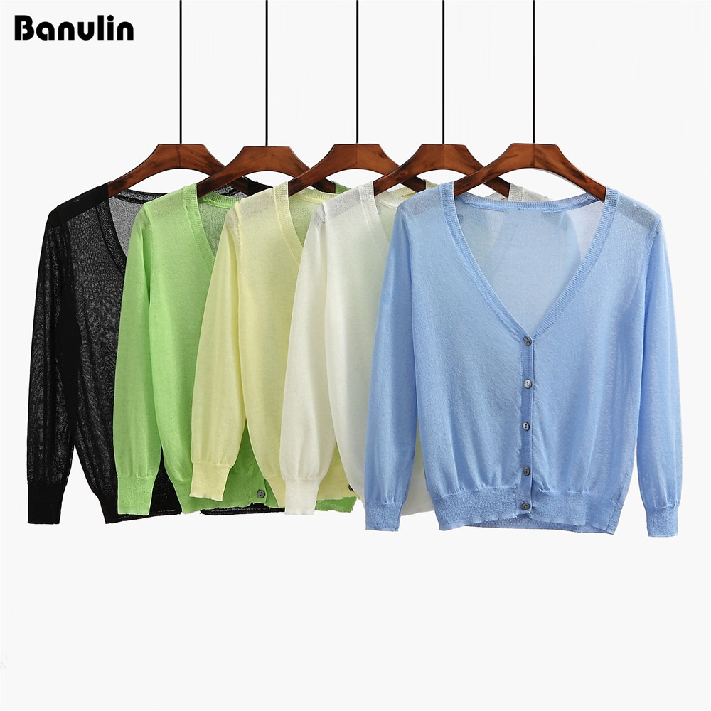Banulin Knitted Cardigan Women 2017 Spring Autumn Long Sleeve V-Neck Womens Sweater Cardigan Female Single Button Pull Coat