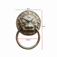 Chinese Antique Copper Fittings Knocker Copper Handle Big Lion Tiger Beast Head Copper Shop First Hand