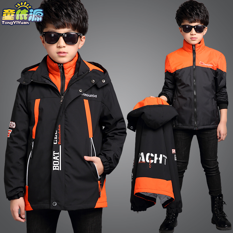 Children's clothing boy padded coat 2016 children winter ski-wear, new cuhk child removable free shipping winter new children s wear patch splicing shoulder button boy cotton padded clothes child quilted jacket