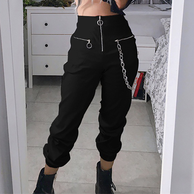 Streetwear Zipper Harem Pants Women 2019 Gothic Harajuku High Waist Pants Casual Joggers Punk Black With Chain Trousers Female
