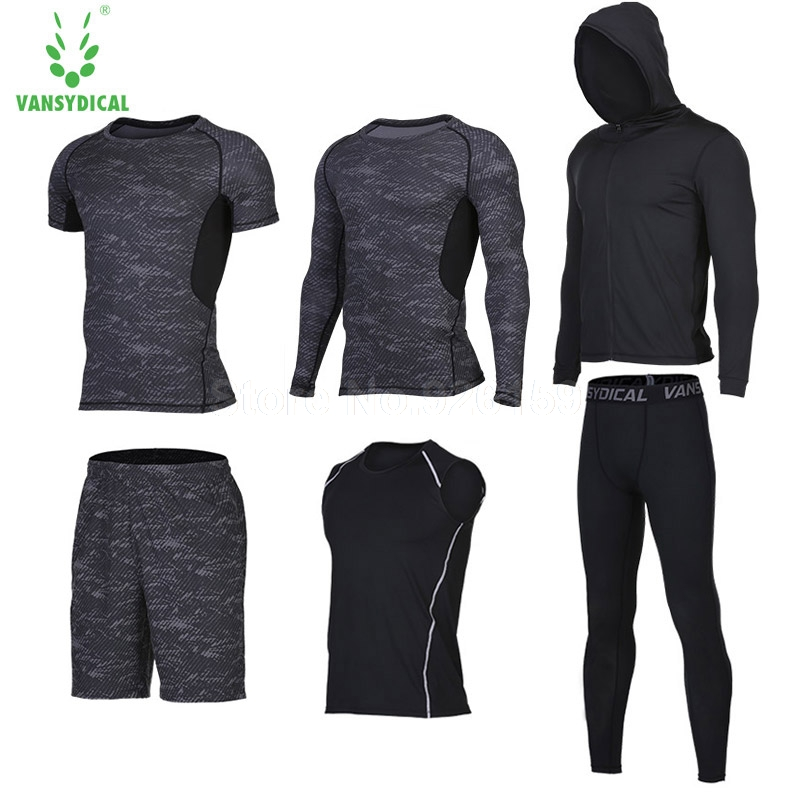 2017 Running Suits Men Sports Suits Men Running Compression Shirt 6pcs Homme Gym Training Running Tracksuits Men Gym Clothing