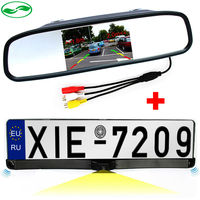 3in1 4.3 Auto Parking Mirror Monitor + HD CCD European Russia License Plate Frame Car Rear View Camera With 2 Radar Sensors
