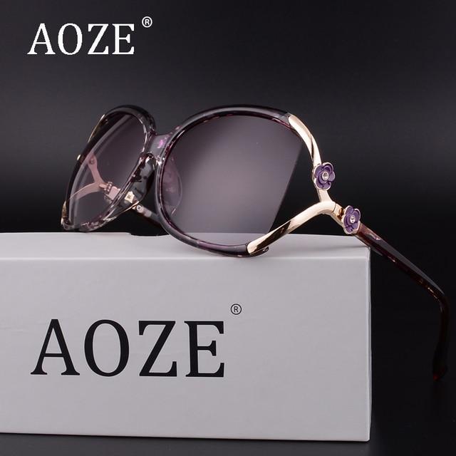2017 AOZE De Luxe vintage fleur lunettes de soleil polarisées femmes marque  designer uv400 surdimensionné lunettes d2b71dff432f