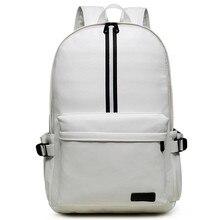 Casual Reiserucksack Leder Rucksack Schüler Schultaschen für Jugendliche Berühmte Marken Laptop Rucksack Weiß/Schwarz Mochila Y73