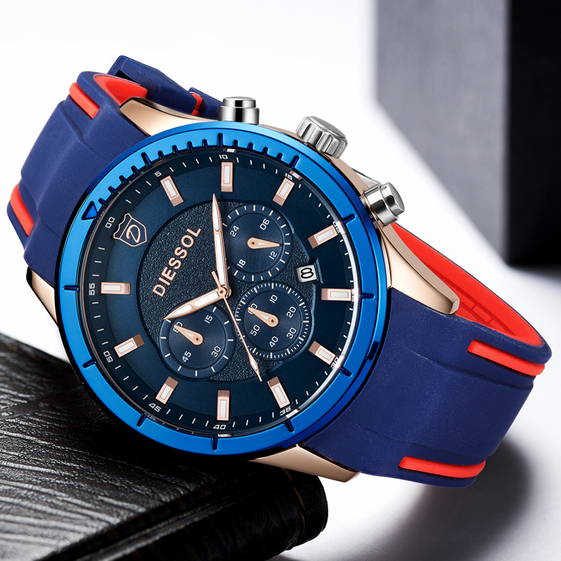 DIESSOL Watch Men Fashion Casual Sport Quartz Clock Mens Watches Top Brand Luxury Rubber Band Waterproof