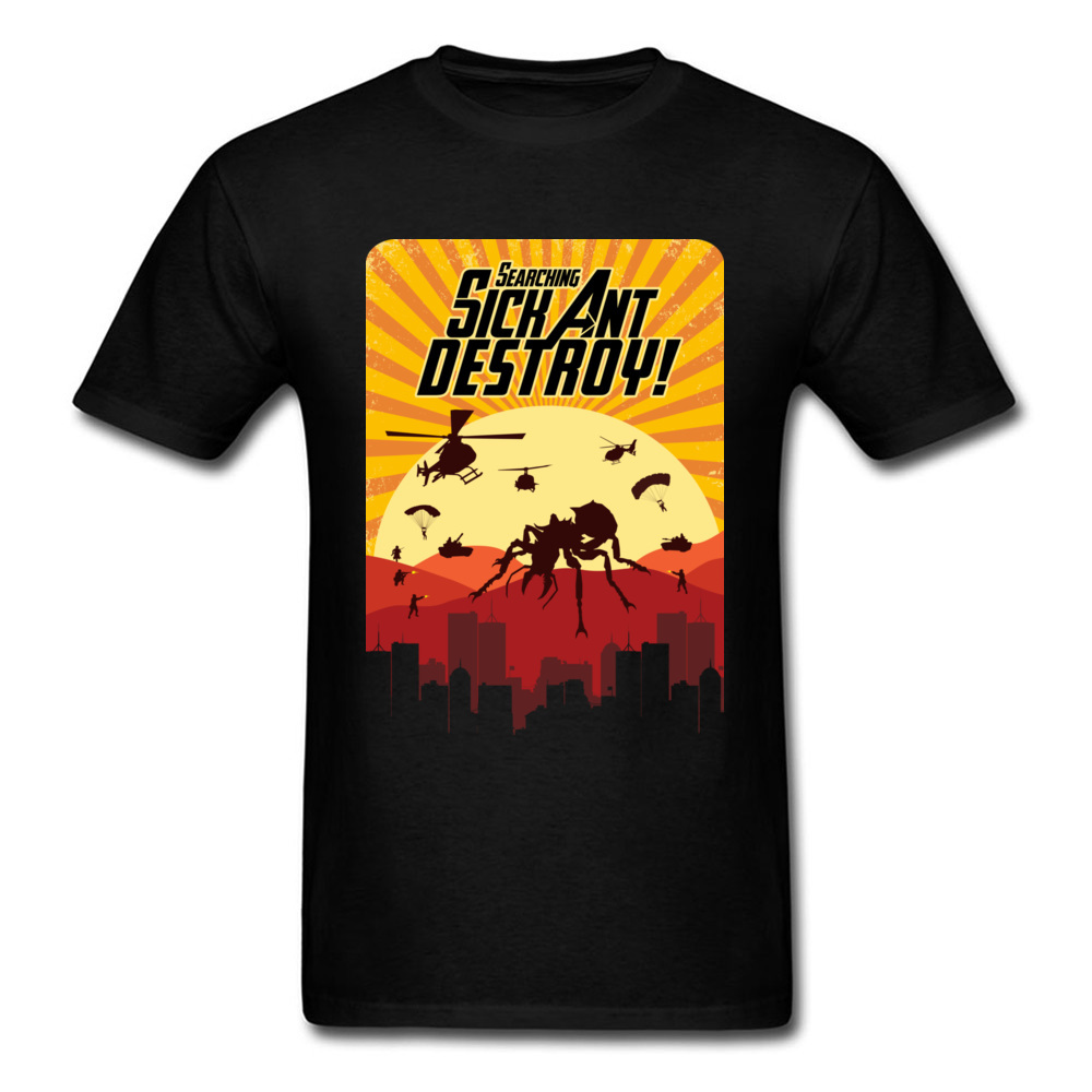 Sick Ant Destroy Cartoon Design Cool T Shirts For Men Cotton Tops Tees Clothing Short Sleeve 2018 Summer Tshirt