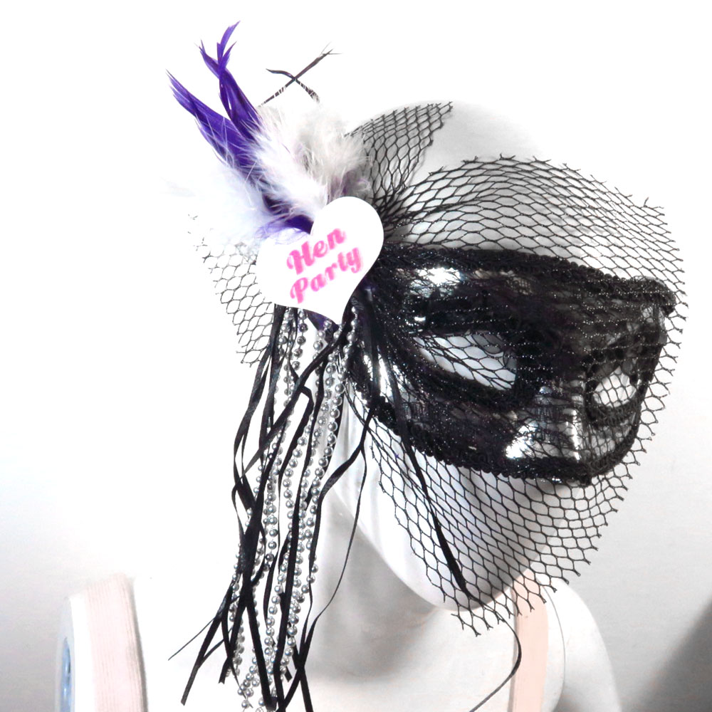 2018 New design Silver half famele mask lace trim black veil purple feather ribbon bowtie Bachelorette hen party funny featured