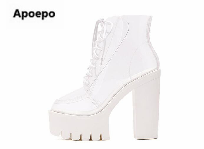 Apoepo brand boots women white black Transparent extreme high heels ankle boots women round toe lace up platform shoes women apoepo brand shoes punk style rivet ankle boots for women lace up high heels shoes women boots sexy platform shoes with heels