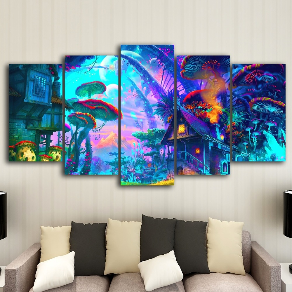 Living Room Digital Art: Canvas Mural Art 5 Rick And Morty Digital Painting High
