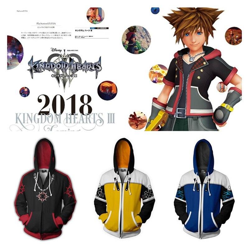 Game Kingdom Hearts Sora Axel Lea Cosplay Costumes Women Men Hoodies Zipper Sweatshirts 3D Printed Hooded Jackets Coat Top