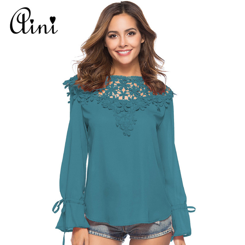 WAQIA 2018 Spring Ladies New Sweet Hollow Out Flower Blouse Casual Lace Patchwork Tops Long Sleeve Chiffon Shirts Blouse Blusas ...