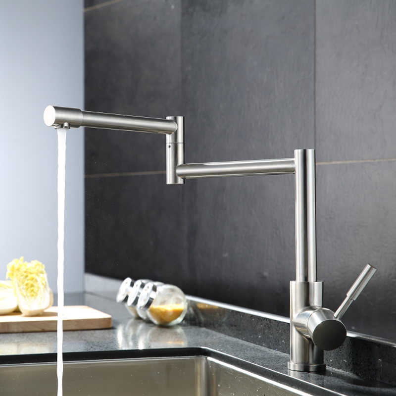 Kitchen Faucet Folding Stainless Steel Sink Faucet 360 Degree Swivel Spout Single Handle Cold And Hot Water Mixer Tap Lead-free