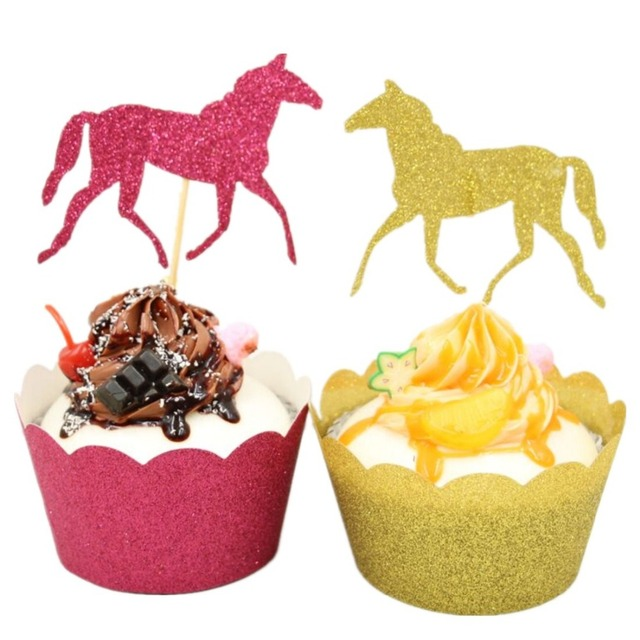 Cowboy Horse Baby Cupcake Wrappers and Toppers Glitter Birthday ...