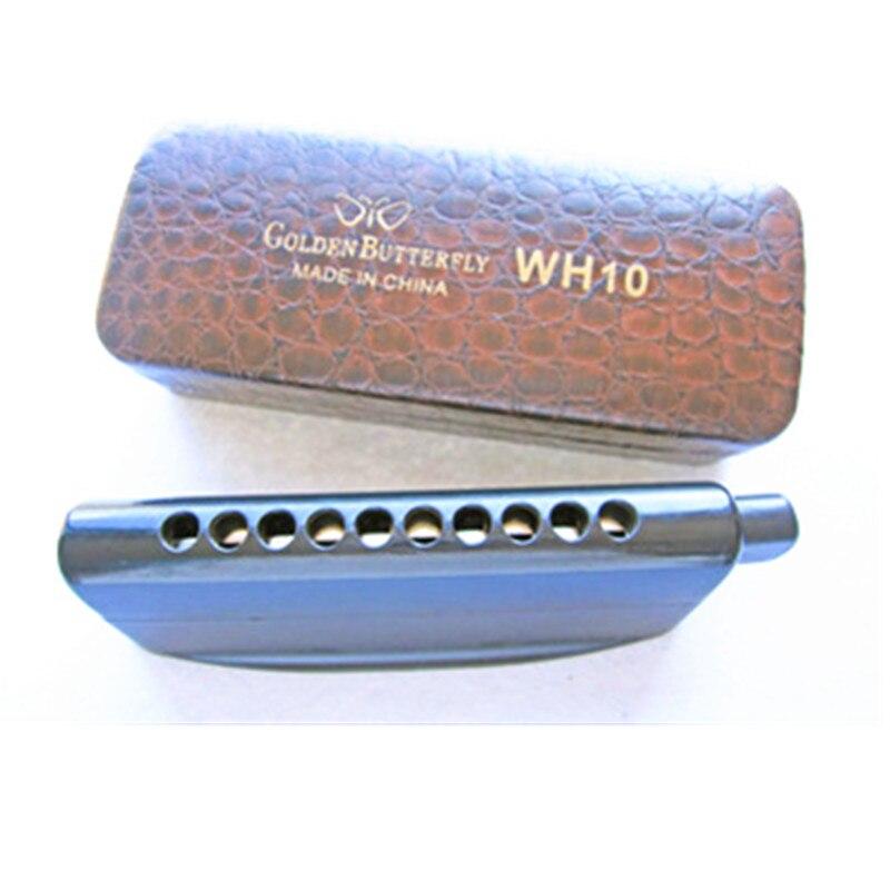 Papillon doré WH10 Harmonica chromatique noir professionnel 10 trous harpe Instrument de musique bouche orgue semi-mat ABS couverture