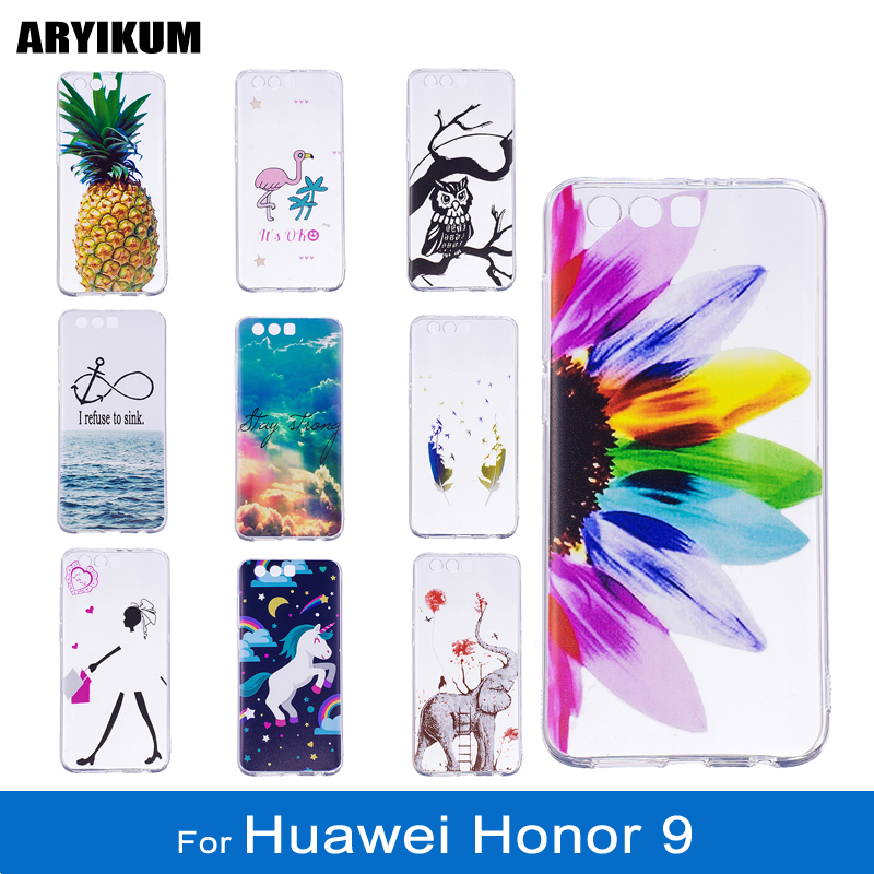 Cases For Huawei Honor 9 64GB 128GB Dual SIM Soft Silicone Transparent Elephant Back Cover For Honor9 Coque Honor 9 Phone Shell