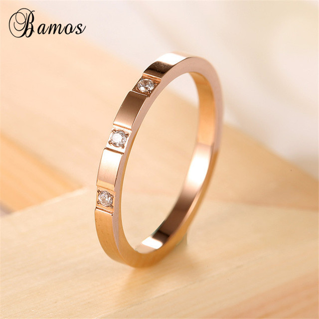 23ca43a1d Bamos Male Female Stainless Steel Ring Simple Round Zircon Rings For Men  Women Fashion Rose Gold Filled Jewelry