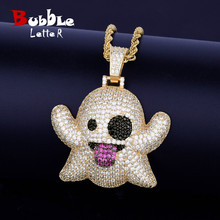 Ghost Necklace & Pendant With 4mm Tennis Chain Gold Color Bling Cubic Zircon Mens Hip hop Rock Jewelry