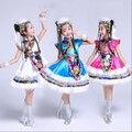 Синий Дети Бальные китайская народная танцевальная одежда костюмы ребенок Короткими рукавами Монгольское гражданство по dance dress включают Головные Уборы