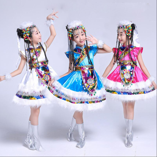 e0c7ad44a Blue Kids Ballroom chinese folk dancewear costumes child Short ...