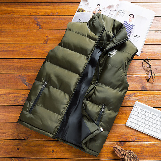 JUNGLE ZONE 2018 new men's sleeveless cotton jacket winter warm vest men's casual vest men's warm jacket MJ008