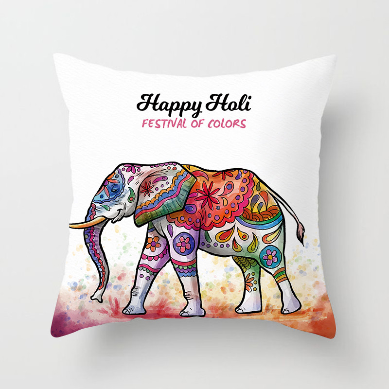 Fuwatacchi Happy Holi Colorful Style Cushion Cover Rainbow Elephant Pillow Case Home Decorative Pillows Cover For Sofa Car in Cushion Cover from Home Garden