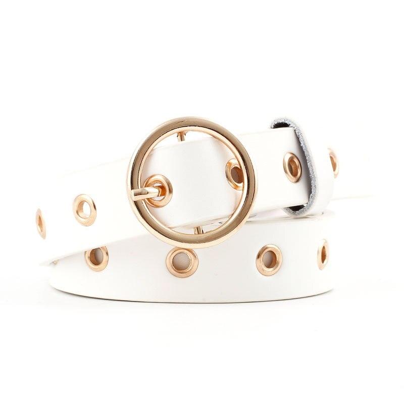 Женский кожаный ремень с круглой металлической пряжкой, круглые ремни от модного бренда в стиле панк с круглым кольцом для женщин - Цвет: White