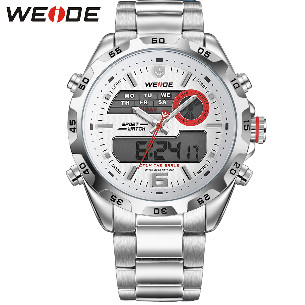 ФОТО WEIDE Latest Watch Analog-Digital Display Outdoor Men Sport Quartz Movement Stop Watch Back Light Stainless Steel Band 6 Colors
