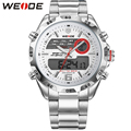 WEIDE Latest Watch Analog-Digital Display Outdoor Men Sport Quartz Movement Stop Watch Back Light Stainless Steel Band 6 Colors