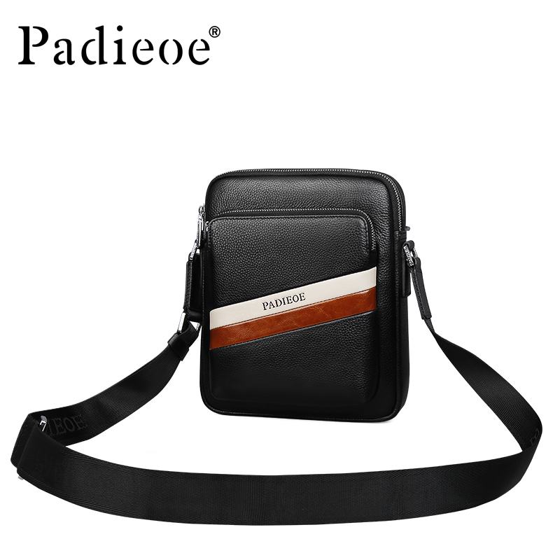 Padieoe Famous Brand Men Shoulder Bag New Fashion Business Casual Crossbody Bags Genuine Leather Messenger Bags Free Shipping 2016 new fashion men s messenger bags 100% genuine leather shoulder bags famous brand first layer cowhide crossbody bags