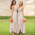 Western Country Bridesmaid Dresses Asymmetric Chiffon Grey Pleated Floor Length Prom Gowns For Girls Vestidos De Novia