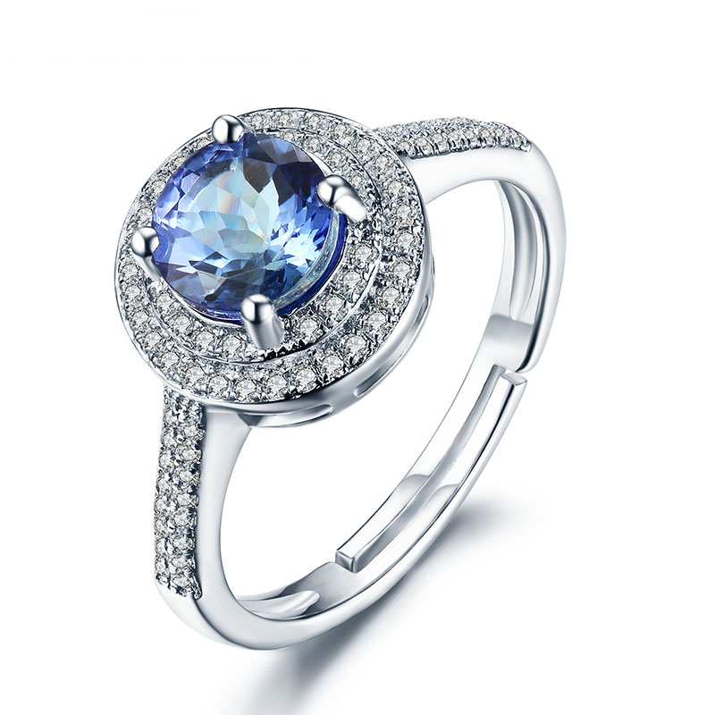083 1ct Blue Tanzanite Real Silver Rings For Women Round